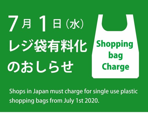 Notice of charge for shopping bags